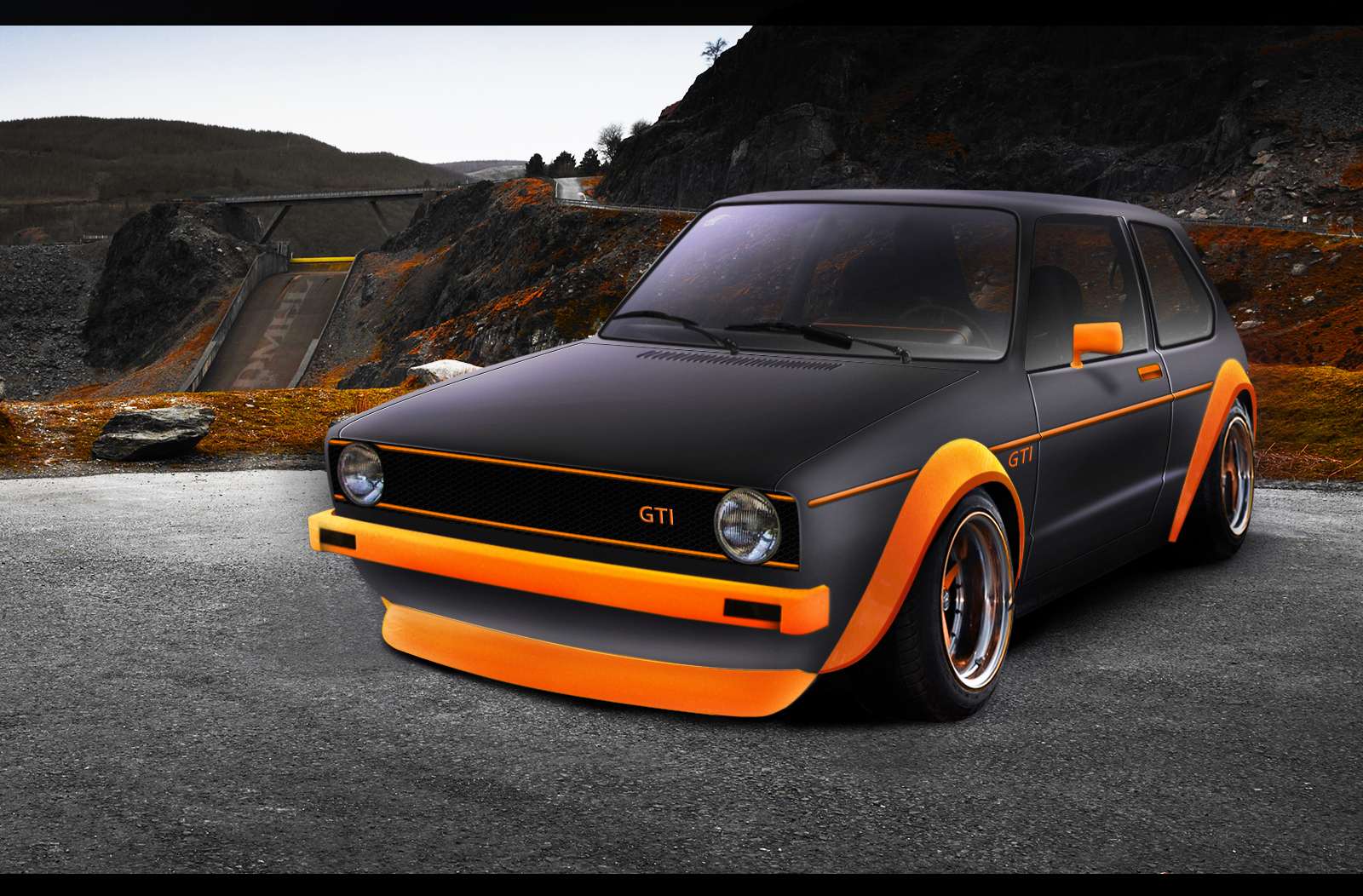 golf gti matte black orange automotive. Black Bedroom Furniture Sets. Home Design Ideas