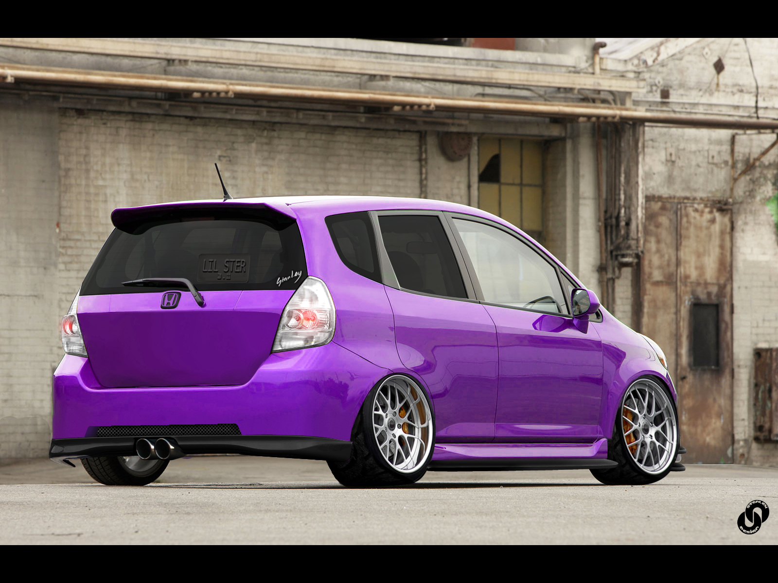 Stanced purple fit by stanleydesign for Purple honda fit